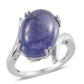 Tanzanite (Ovl) Solitaire Ring in Platinum Overlay Sterling Silver 12.500 Ct.