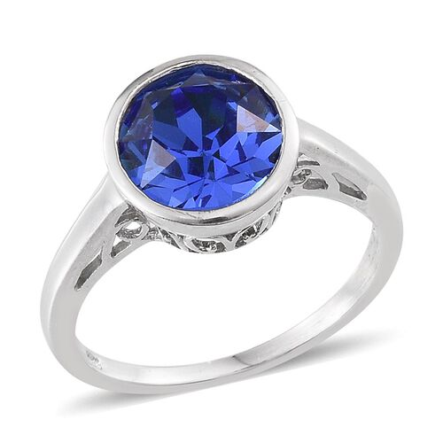 J Francis Crystal from Swarovski - Sapphire Colour Crystal (Rnd) Solitaire Ring in Platinum Overlay Sterling Silver