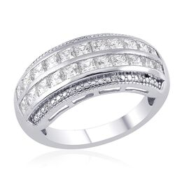 J Francis - Platinum Overlay Sterling Silver (Sqr) Ring Made with SWAROVSKI ZIRCONIA 1.494 Ct.