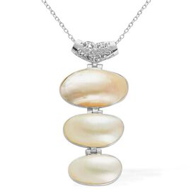 White Shell Pendant in Silver Tone with Stainless Steel Chain