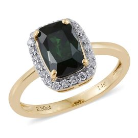 14K Yellow Gold 2.75 Carat AAA Russian Diopside Cushion Halo Ring With Diamond (I1-I28G-H)