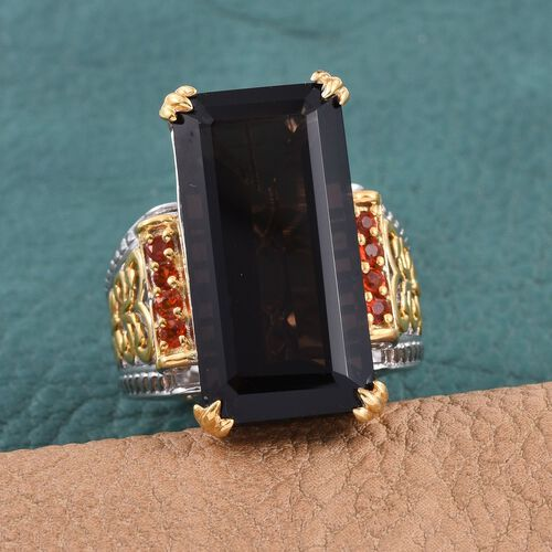 Brazilian Smoky Quartz (Oct 17.85 Ct), Jalisco Fire Opal Ring in Platinum and and Gold Overlay Sterling Silver 18.000 Ct.