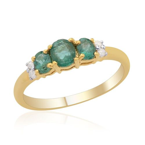 Kagem Zambian Emerald (Ovl) Diamond Ring in 14K Gold Overlay Sterling Silver  0.650 Ct.
