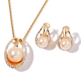 AAA White Austrian Crystal and Simulated Pearl Pendant With Chain and Earrings (with French Clip) in Yellow Gold Tone