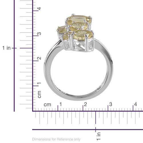 Brazilian Green Gold Quartz (Rnd 1.75 Ct), Diamond Ring in Platinum Overlay Sterling Silver 3.760 Ct.