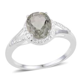 Green Amethyst (Ovl) Solitaire Ring in Sterling Silver 2.250 Ct.