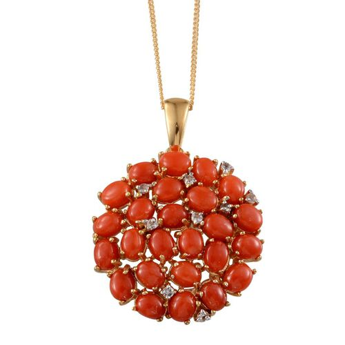 Mediterranean Coral (7.25 Ct),White Topaz 14K Gold Overlay Sterling Silver Pendant With Chain  7.400  Ct.