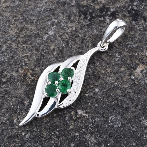 Brazilian Emerald (Rnd) Pendant in Sterling Silver 0.500 Ct.