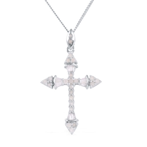 Diamond (Rnd) Cross Pendant With Chain in Platinum Overlay Sterling Silver 0.500 Ct.