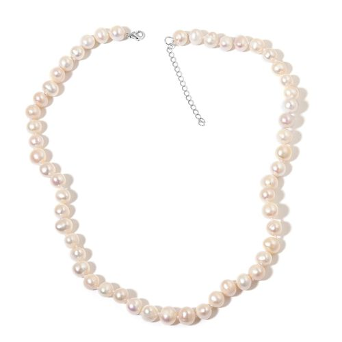 Fresh Water White Pearl Necklace (Size 18) in Rhodium Plated Sterling Silver