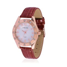 STRADA Japanese Movement White and Rose Colour Dial White Austrian Crystal Water Resistant Watch in Rose Gold Tone with Stainless Steel Back and Brown Strap