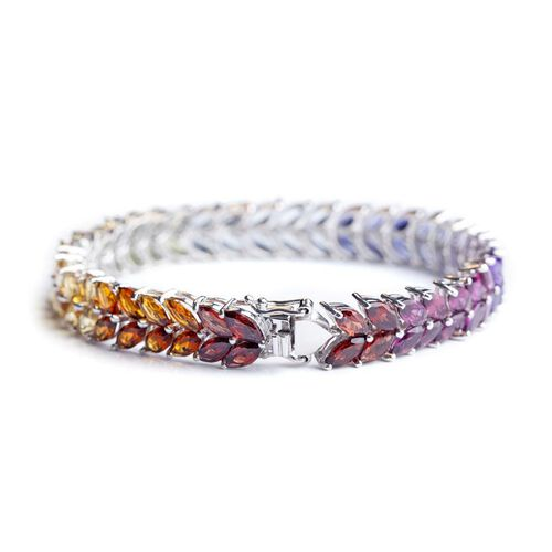 Sky Blue Topaz (Mrq), Hebei Peridot, Madeira Citrine, Amethyst, Iolite, Garnet and Citrine Rainbow Bracelet in Rhodium Plated Sterling Silver (Size 7.5) 32.000 Ct.