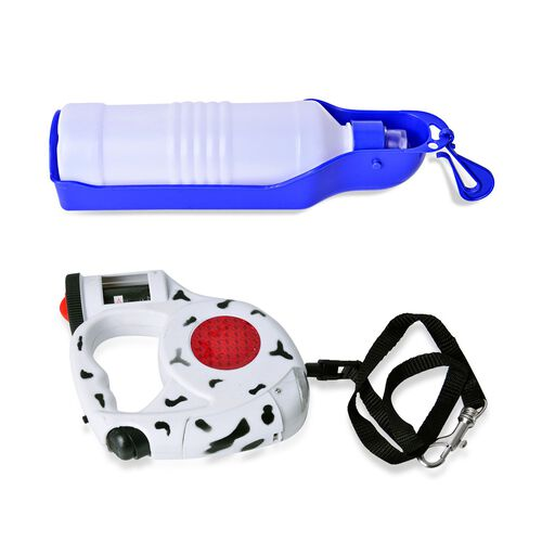 Pet Accessories- Red, White and Black Colour Retractable LED Leash with Blue and White Colour Water Bottle with Plastic Bag