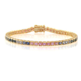 Rainbow Sapphire (Sqr) Tennis Bracelet (Size 7.5) in 14K Gold Overlay Sterling Silver 8.250 Ct.