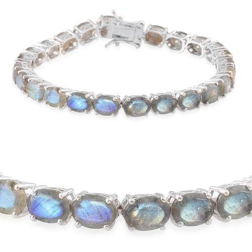 Labradorite (Ovl) Tennis Bracelet (Size 8) in Platinum Overlay Sterling Silver 28.750 Ct.