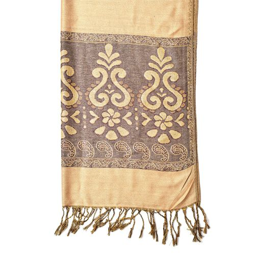 Golden and Chocolate Colour Knitted Floral and Paisley Pattern Scarf with Tassels (Size 170X70 Cm)
