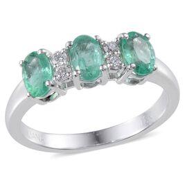 ILIANA 18K White Gold Boyaca Colombian Emerald (Ovl), Diamond (SI/G-H) Ring 1.350 Ct.
