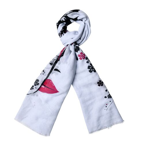 Artistic Floral and Female Face Pattern Blue Colour Scarf (Size 180x70 Cm)