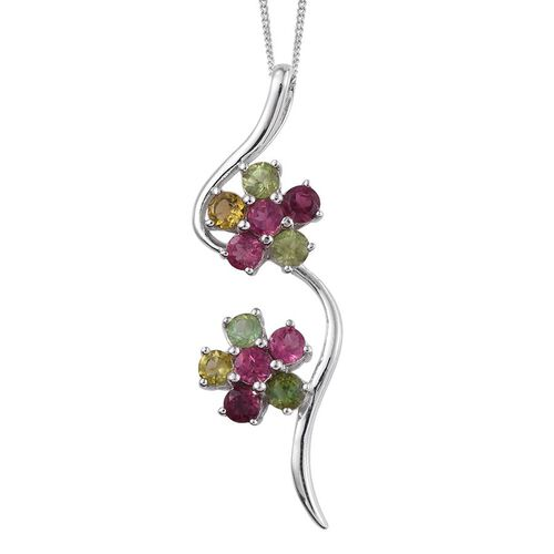 Rainbow Tourmaline (Rnd) Twin Floral Pendant With Chain in Platinum Overlay Sterling Silver 2.250 Ct.
