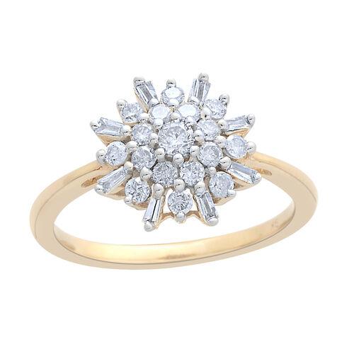 9K Yellow Gold 0.50 Carat Diamond Snowflake Ring SGL Certified I3 G-H.