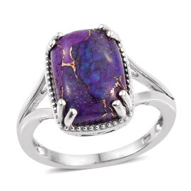 Purple Turquoise (Cush) Solitaire Ring in Platinum Overlay Sterling Silver 6.000 Ct.