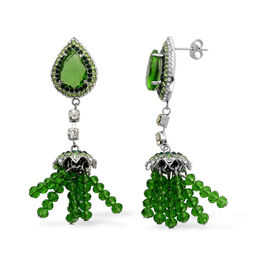 Green Glass, White and Green Austrian Crystal Dangle Earrings in Stainless Steel