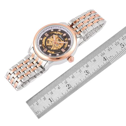 GENOA Automatic Skeleton White Austrian Crystal Studded Black Dial Water Resistant Watch in Silver and Rose Gold Tone with Chain Strap