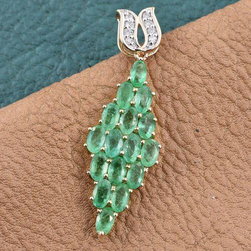 9K Y Gold  Boyaca Colombian Emerald (Ovl), Diamond Pendant 4.000 Ct.