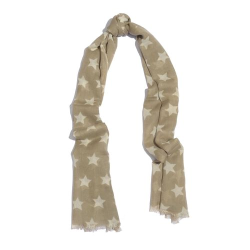 NEW FOR SEASON - 60% Merino Wool and 40% Modal Beige and White Colour Star Printed Scarf (Size 180x70 Cm)