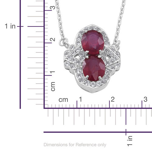 African Ruby (Ovl), White Topaz Necklace (Size 16) in Rhodium Plated Sterling Silver 6.710 Ct.