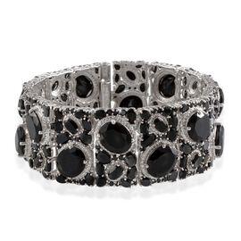 Boi Ploi Black Spinel (Ovl), Diamond Bracelet (Size 8) in Platinum Overlay Sterling Silver 100.020 Ct.