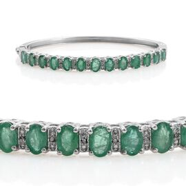 Kagem Zambian Emerald (Ovl), Diamond Bangle (Size 7.5) in Platinum Overlay Sterling Silver 4.800 Ct.
