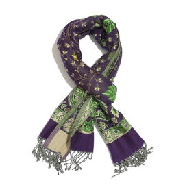 Green, Grey, and Multi Colour Floral and Leaves Pattern Blue Colour Scarf (Size 200x70 Cm)