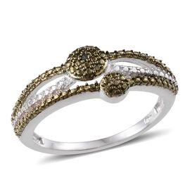 Green Diamond (Rnd), White Diamond Ring in Platinum Overlay Sterling Silver