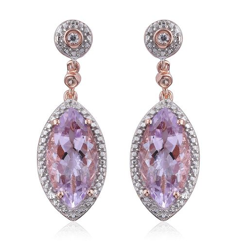 Rose De France Amethyst (Mrq), Natural Cambodian Zircon Earrings (with Push Back) in Rose Gold Overlay Sterling Silver 7.750 Ct.