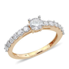 9K Yellow Gold SGL Certified Diamond (Rnd 0.37 Ct) (I3/G-H) Ring 1.000 Ct.