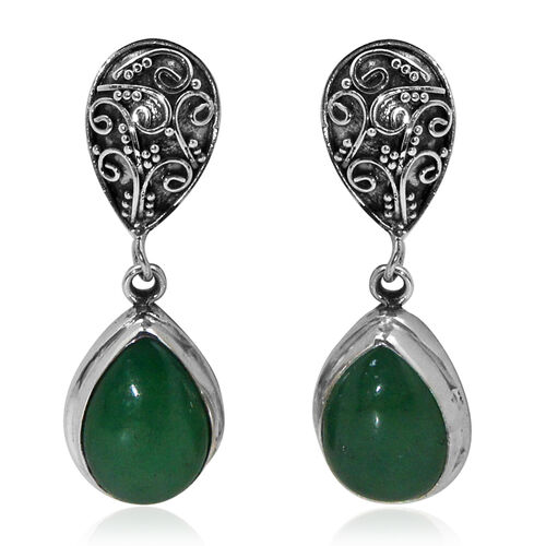 Royal Bali Collection Chinese Green Jade (Pear) Earrings (with Push Back) in Sterling Silver 12.180 Ct.