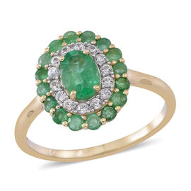 9K Y Gold AAA Kagem Zambian Emerald Natural Cambodian White Zircon Ring 1.750 Ct.