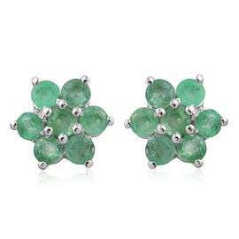 Kagem Zambian Emerald (Rnd) Floral Stud Earrings (with Push Back) in Platinum Overlay Sterling Silver 0.750 Ct.