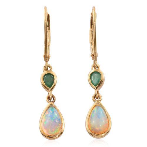 Ethiopian Welo Opal (Pear), Kagem Zambian Emerald Lever Back Earrings in 14K Gold Overlay Sterling Silver 1.250 Ct.