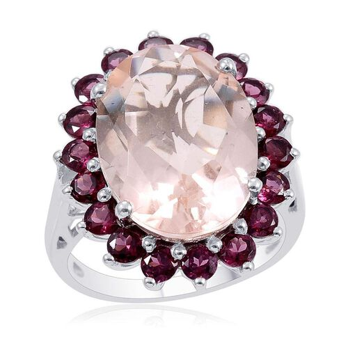 Morganite Quartz (Ovl 10.25 Ct), Rhodolite Garnet Ring in Platinum Overlay Sterling Silver 12.750 Ct.
