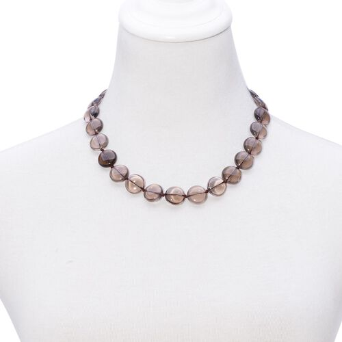 Brazilian Smoky Quartz Necklace (Size 18) in Sterling Silver 350.000 Ct.