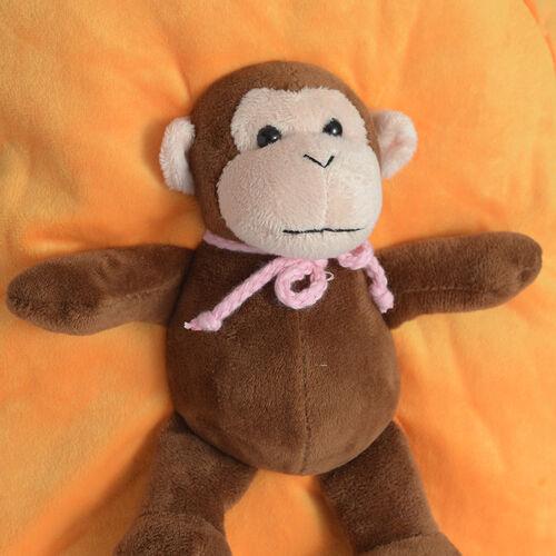 Orange Colour School Bag With Chocolate Colour Monkey Kids Backpack (Size 32x28 Cm)
