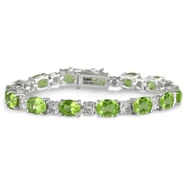 AA Hebei Peridot (Ovl), White Topaz Bracelet in Rhodium Plated Sterling Silver (Size 8) 36.000 Ct.