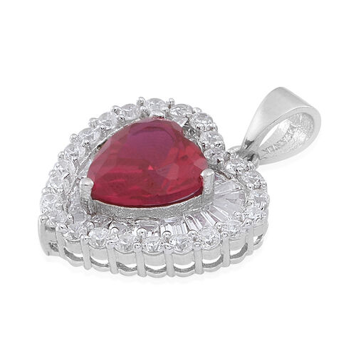 ELANZA AAA Simulated Ruby (Hrt), Simulated White Diamond Heart Pendant in Rhodium Plated Sterling Silver