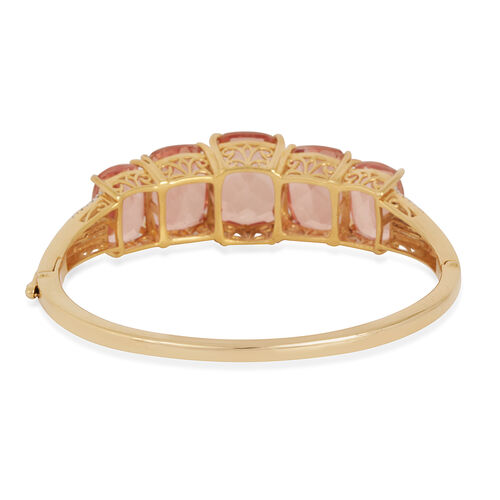 Morganite Colour Quartz (Cush 14.25 Ct), Diamond Bangle (Size 7) in 14K Gold Overlay Sterling Silver 50.800 Ct.