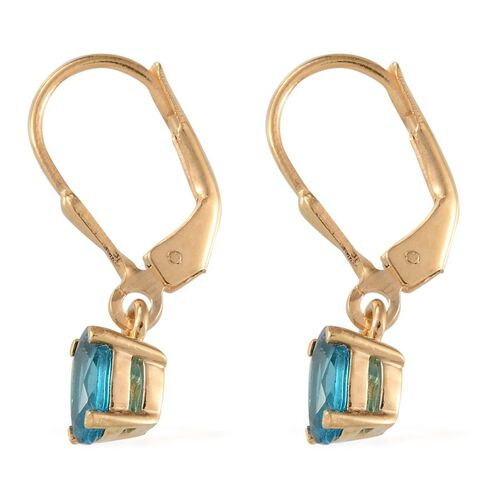 Malgache Neon Apatite (Ovl) Lever Back Earrings in Yellow Gold Overlay Sterling Silver 1.150 Ct.