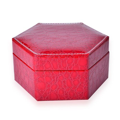 Red Colour Croc Embossed Hexagon Shaped 2 Layer Jewellery Box with Mirror inside (Size 14.5x12.5x7.2 Cm)