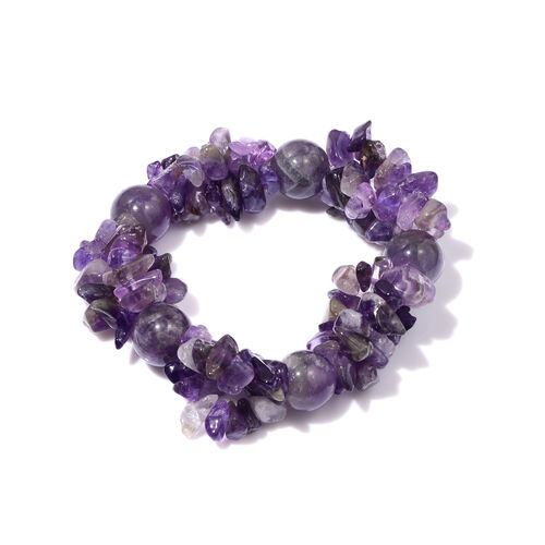 Amethyst and Simulated Diamond Necklace(Size 28) and Stretchable Bracelet 400.00 Ct
