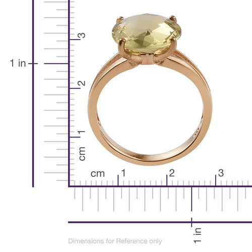 Natural Ouro Verde Quartz (Rnd) Solitaire Ring in 14K Gold Overlay Sterling Silver 4.750 Ct.